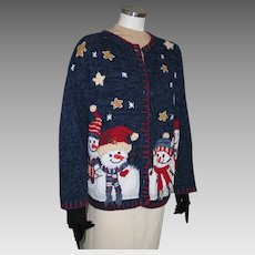 Vintage Early 90s Navy Blue UCS Cardigan Sweate Stars and Snowmen XL