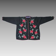 Vintage 1980s Black Cardigan Christmas Sweater UCS Red Poinsettias L XL