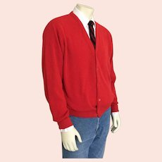 Vintage 1980s IDG Red V Neck Golf Cardigan Sweater XL