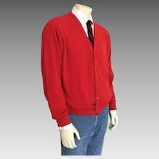 Vintage 1980s IDG Red V Neck Golf Cardigan Sweater XL