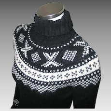 Vintage Early 1990s Black n White Cozy Nordic Sweater Gap XS