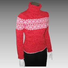 Vintage Early 1990s Red Pink White Nordic Print Winter Ski Sweater XS S