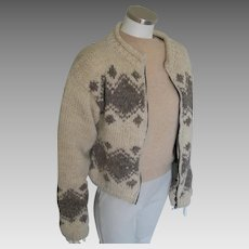 Vintage 1980s Nordic Style Oatmeal Cocoa Cozy Flannel Lined Wool Sweater Jacket M