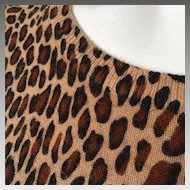 Vintage 1990s Sag Harbor Petite Leopard Print Pullover Short Sleeve Jewel Neck Sweater M