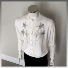 Vintage 1960s White with gray silver beaded cardigan sweater  by Jane Irwill M L