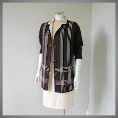 Vintage 1960s Brown Geometric Woven Design Cardigan Sweater M L