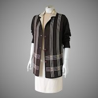 Vintage 1960s Brown Geometric Woven Design Cardigan Sweater M L
