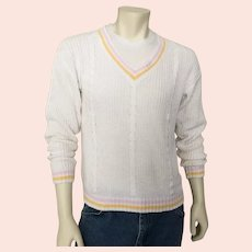 Vintage 1980s Preppy Lord & Taylor Spring Summer Tennis Sweater L XL