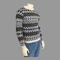 Vintage 1960s Highland Wool Nordic Sweater Blue Cream Navy Olive M