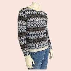 Vintage 1960s Highland Wool Nordic Sweater Blue Cream Navy Olive M