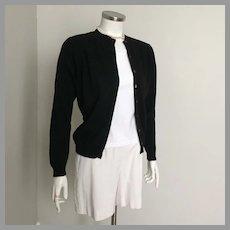 Vintage 1980s Beautiful Black Raglan Cardigan Sweater M