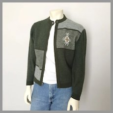 Vintage 1960s Olive Green and Gray Color Block Zip Front Cardigan Sweater L