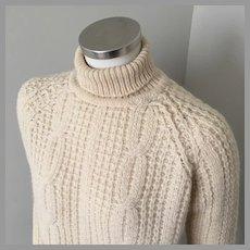 Vintage 1950s Cream Fisherman Knit Pullover Turtleneck Sweater Jumper M L