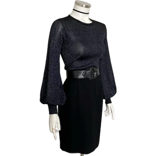 1960s 1970s Vintage Semi Sheer Black Silver Lurex Balloon Sleeve Sweater Knit Top M