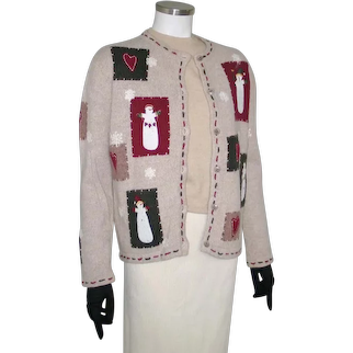 Vintage Early 1990s Snowman Croft and Barrow Christmas Holiday UCS Sweater S  M