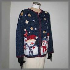 Vintage  1990s Navy Blue UCS Cardigan Sweater Stars and Snowmen XL