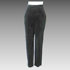 Vintage 1960s Black Velveteen Formal Event Trousers Cigarette Pants Slacks High Waist XS S