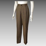 Vintage Late 1980s Banana Republic Plaid Women's Pleated Front High Waist Trousers 8 28W PRE-Fall Sale