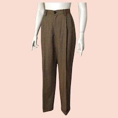 Vintage Late 1980s Banana Republic Plaid Women's Pleated High Waist Trousers 8 28W