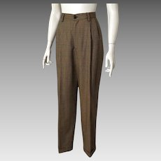 Vintage Late 1980s Banana Republic Plaid Women's Pleated Front High Waist Trousers 8 28W