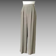 Vintage Early 1990s Banana Republic Sage Green Rayon Womens Trousers Pants High Waist Wide Legs M