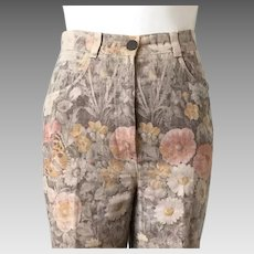 Vintage 1990s Autumn Colors Floral Print Designer Jeans Made in France Bernard Zins Paris