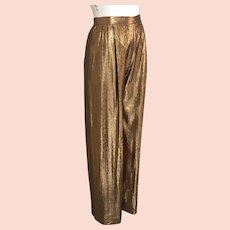 Vintage 1970s Shimmering Bronze Copper Ladies Disco Trousers Pants by Holly Harp  S