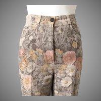 Vintage 1990s Autumn Color Floral Print Designer Jeans Made in France M 8 Bernard Zins Paris