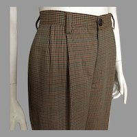 Vintage 1980s Banana Republic Plaid Women's Pleated Front High Waist Trousers 8 28W