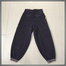 Vintage 1930s Navy Blue Thick Wool Snow Pants Ski Pants Winterwear Sportswear S