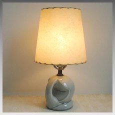 Vintage 1940s High Gloss Dove Gray Ceramic Table Lamp Round Shape