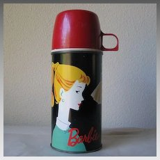 Authentic Vintage 1962 Barbie Thermos Bottle 2025H with Red Cup Cap & Stopper