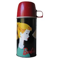 Authentic Vintage 1962 Barbie Thermos Bottle 2025H with Red Cup Cap and Stopper