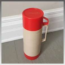 Vintage 1960s Red and Tan Thermos by Aladdin with Extra Bowl