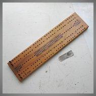 Vintage Wood Cribbage Game Board