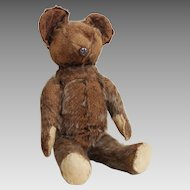 "Vintage 1920s 1930s Light Brown Mohair Stuffed Animal Toy Teddy Bear 12"""