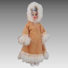 Vintage 1950s Hard Plastic Doll Eskimo Intuit Dolls Of The World