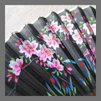 Vintage Folding Fan Black Hand Painted Silk on Wood Silver Foil Edging