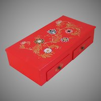 Vintage 1960s Red Black and White European Ethnic Norskie Jewelry Box