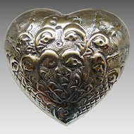 Vintage 1970s Repoussé Domed Heart Shaped Jewelry Trinket Box of Love