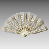 Vintage Cream Lace Hand Fan Handfan