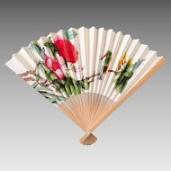 Vintage Bamboo Hand Fan with Exotic Flower and Hummingbird Print