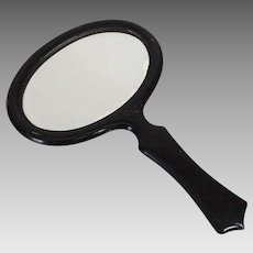 Vintage 1920s Black Enamel Hand Mirror with Beveled Glass