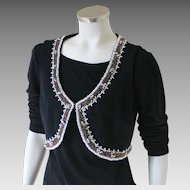 Vintage 1960s Black Knit Heavily Beaded Cropped Vest Sabrina M