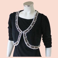 Vintage 1960s Black Knit Heavily Beaded Cropped Vest Sabrina M