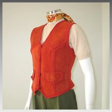 Authentic Vintage 1970s Dark Orange Russet Suede Sweater Knit Vest S