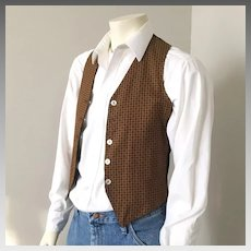 Vintage 1960s Mens Reversible Vest of Black Corduroy and Autumn Foulard Print S M