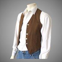 Vintage 1960s Mens Reversible Vest of Black Corduroy and Autumn Foulard Print S M