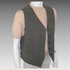 Vintage 1980s Menswear Inspired Dark Teal Sage Straw and Berry Tweed Plaid Vest Waistcoat M