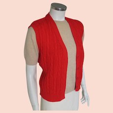 Vintage 1980s Red Cable Knit Prep Sweater Vest by Pendleton M L